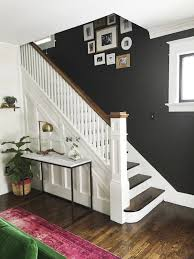 Image Grey Beautiful Entryway And Staircase Makeover With Dark Wall And White Stairs And Woodwork Pinterest Beautiful Entryway And Staircase Makeover With Dark Wall And White