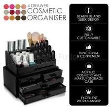 image is loading 4 drawer cosmetic organiser black makeup rack acrylic