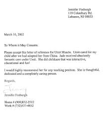 Letter Of Reference Classy Childcare Cover Gallery One Sample Reference R For Child Care Worker