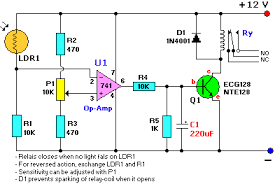 lm741 light dark sensor circuit reuk co uk lm741 light dark sensor circuit schematic diagram