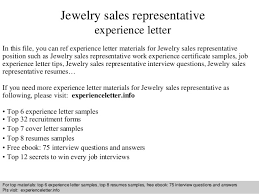 Sales Associate Cover Letter Gorgeous Jewelry Sales Representative Experience Letter