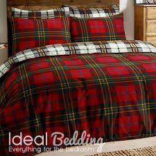 home flannel tartan check red duvet set and pillowcase bedding set previous next