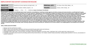 Import And Export Coordinator Cover Letter Resume