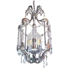 vintage floine crystal wrought iron ceiling light by art