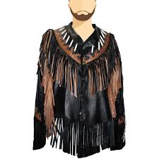 details about new men s traditional western cowboy buckskin goat leather jacket with fringe