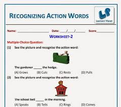 English Recognizing Action Words Worksheet printables for grade 2 ...