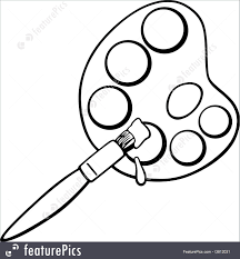 Small Picture Artistic Tools Brush And Palette Clip Art Coloring Page Stock