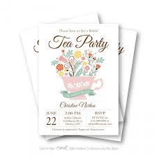 Tea Invitations Printable Bridal Shower Tea Party Invitation Customized Printable Tea Cup