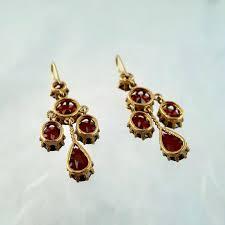 victorian garnet chandelier earrings in 9ct gold