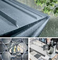 rheinzink half round gutters are available in prepatina blue grey and prepatina graphite grey