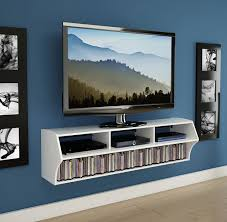 tv 30. tv console - wall mounted white has three compartments for peripherals and a long media tv 30