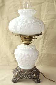 vintage fenton milk glass lamp poppy fl student lamp gwtw chimney shade