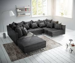 Couch Clovis Anthrazit Antik Optik Mit Hocker Wohnlandschaft