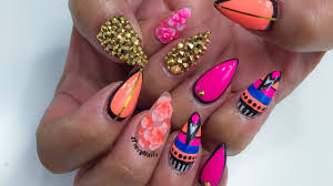 Hot Pink & Coral Abstract Design Acrylic Nails - YouTube