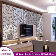 3D Acrylic <b>Mirror</b> self adhesive Wall Sticker Decoration Removable ...