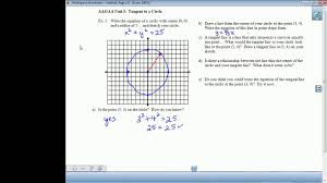 find a tangent to a circle at a given point