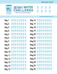 How Much Water Should I Drink A Day Chart 30 Day Water Challenge 64ozchallenge Body Rockin
