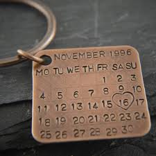 bronze key chain date calendar charm solid bronze gift 8th and 19th wedding