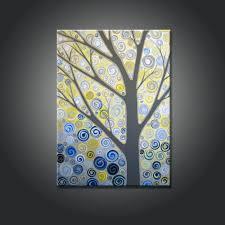 interior design yellow and blue wall art custom will looking amazing modern decoration handmade polish painting