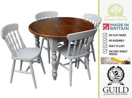 Round Pine Kitchen Table Traditional 3ft Painted Round Dining Table 4 X Spindle Chair Set