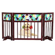 okdeals foldable freestanding wooden pet gate 3 panel folding wooden fence indoor barrier