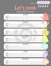 Weekly Menu Planner Vector Template Let S Cook With Kitchen