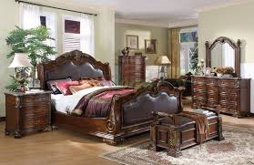 Sleigh Bed Bedroom Sets Sleigh Bedroom Furniture Set With Leather Headboard And Footboard 104