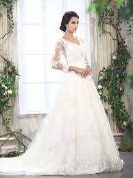 Lace V Neck Long Sleeves White Ball Gown Bride Dresses On Sale