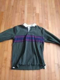 vintage ll bean long sleeve polo rugby shirt retro look mens medium