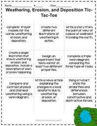 Weathering Erosion And Deposition Tictactoe Choice Board Choices
