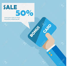 Credit Card Templates For Sale Hand With Bonus Card Vector Sale Card Template Royalty Free