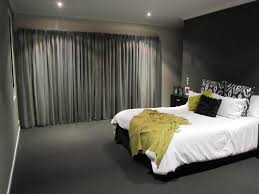 gray curtains for bedroom along with gray curtain for wide windowed and white comforter covering with gray floors