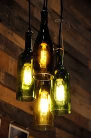 4- Light Chandelier, Recycled Wine Bottle Pendant Lamp, Hanging Bottle Lamp.  $179.00