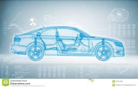 automotive technology background. Hitech Car On Blue Background With Automotive Technology