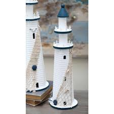 wooden lighthouse decorative sculpture in blue and