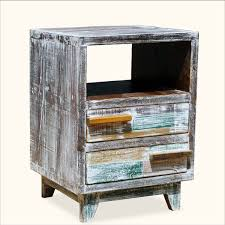 distressed reclaimed wood end table with shelf and drawers recycled tables awesome ideas small rattan ethan