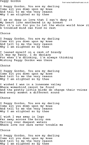 Peggy Gordon by The Dubliners - song lyrics and chords