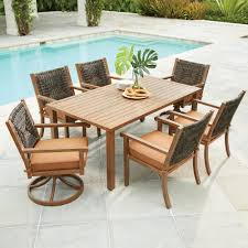 wicker patio dining furniture. Hampton Bay Kapolei 7-Piece Wicker Outdoor Dining Set With Reddish Brown Cushion-720.127 Patio Furniture I