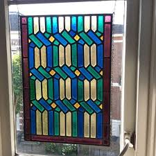 gorgeous old stained glass mosaic windows hanger sun catcher of the amsterdam school late 19th century