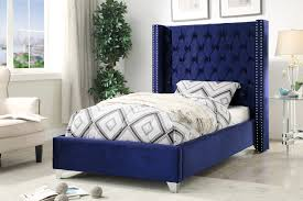 Aiden Navy Twin Size Bed aiden Meridian Furniture Twin Size Beds