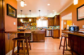 central kitchen orange paint colors open color cabinets colorful kitchens endearing you