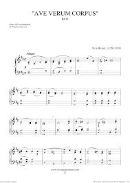 ave verum corpus sheet music mozart ave verum corpus sheet music for piano solo