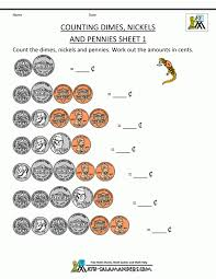 Math Worksheetsunting Money Dimes Nickels And Pennies Grade Free ...