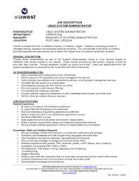 Server Sample Job Description Linux Administration Resume Unix