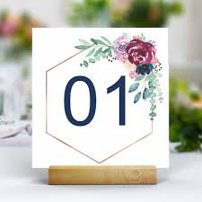 Table Number Design Acrylic Wedding Table Numbers 100mm X 100mm Full Colour Tab003