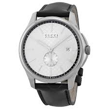 gucci g timeless automatic silver dial black leather strap men s watch ya126313