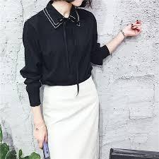 Korean <b>Style</b> Woman's Slim Lace <b>Bow Tie</b> Long Sleeve <b>Chiffon</b> ...