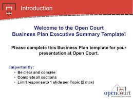 executive business plan template welcome to the open court business plan executive summary template