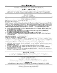 free payroll supervisor resume example supervisor resume sample