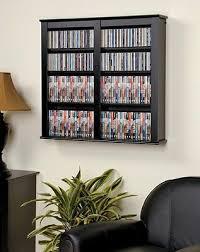 black media storage cabinet wall